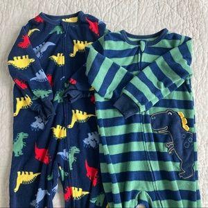 Absorba // 2 pc Fleece Zip Footie Pajamas